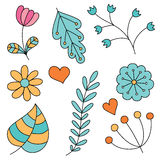 Set of abstract floral elements. Hand drawn doodle. Vector illustration Stock Photo