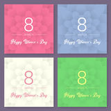 Set of Abstract Floral Greeting card - International Happy Women`s Day - 8 March holiday background. Trendy Design Template. Vecto. R illustration Royalty Free Stock Photography