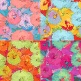 A set of abstract floral seamless pattern in grunge style Royalty Free Stock Photo