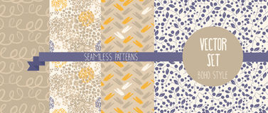 Set of abstract and floral seamless patterns Stock Image
