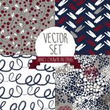 Set of abstract and floral seamless patterns. Vector illustration Royalty Free Stock Photos