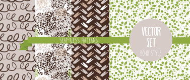 Set of abstract and floral seamless patterns. Vector illustration Royalty Free Stock Images