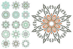 Set of abstract flower circles Royalty Free Stock Photo