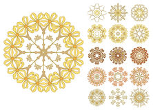 Set of abstract flower circles Royalty Free Stock Photography