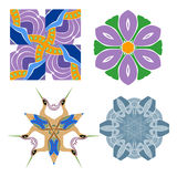 Set of abstract flower feminine pattern textiles Royalty Free Stock Image