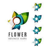 Set of abstract flower logo business icons Stock Photography