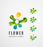 Set of abstract flower logo business icons Royalty Free Stock Photo