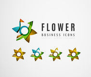 Set of abstract flower logo business icons Stock Images