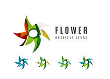 Set of abstract flower logo business icons Stock Photo