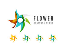 Set of abstract flower logo business icons Royalty Free Stock Image