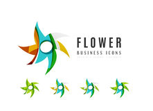 Set of abstract flower logo business icons Royalty Free Stock Photos