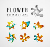 Set of abstract flower logo business icons Stock Image