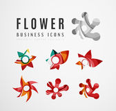 Set of abstract flower logo business icons Royalty Free Stock Images