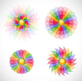 Set with abstract flowers. Stock Photos