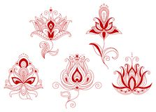 Set of abstract flowers in persian and indian Royalty Free Stock Photography
