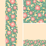 Set of abstract flowers seamless pattern and Royalty Free Stock Photo
