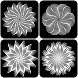 Set of abstract flowers. Vector. Set of abstract flowers on black background. Vector illustration Stock Images