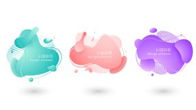 Set of abstract fluid modern graphic geometric elements. royalty free illustration