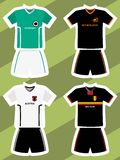 Set of abstract football jerseys, Germany, Netherlands, Austria and Belgium Royalty Free Stock Photography