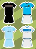Set of abstract football jerseys, spain, italy, france and portugal Royalty Free Stock Image