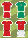 Set of abstract football jerseys, switzerland, slovenia, macedonia and hungary Stock Images