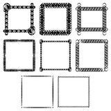 Set of Abstract frames isolated in black Stock Photo