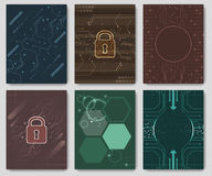 Set of  abstract futuristic technology innovation flyer, brochure or corporate banner. Stock Photos