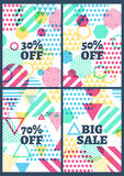 Set of  abstract geometric background. Summer sale design. Royalty Free Stock Photo