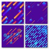 Set of abstract geometric backgrounds. Modern dynamic pattern. Rounded diagonal lines with circles, waves. Set of abstract geometric backgrounds. Modern dynamic Royalty Free Stock Images