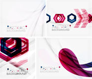 Set of abstract geometric backgrounds. Waves. Triangles, lines. Vector universal templates Royalty Free Stock Photo