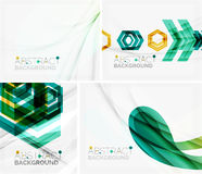 Set of abstract geometric backgrounds. Waves. Triangles, lines. Vector universal templates Royalty Free Stock Images