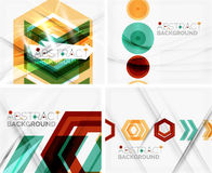 Set of abstract geometric backgrounds. Waves. Triangles, lines. Vector universal templates Stock Photo