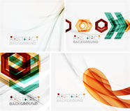 Set of abstract geometric backgrounds. Waves. Triangles, lines. Vector universal templates Royalty Free Stock Image
