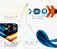 Set of abstract geometric backgrounds. Waves Stock Images