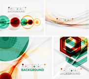 Set of abstract geometric backgrounds. Waves. Triangles, lines. Vector universal templates Royalty Free Stock Photography