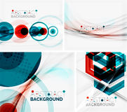 Set of abstract geometric backgrounds. Waves. Triangles, lines. Vector universal templates Stock Images