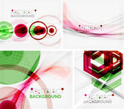 Set of abstract geometric backgrounds. Waves Royalty Free Stock Photos