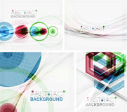 Set of abstract geometric backgrounds. Waves Stock Photos