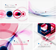 Set of abstract geometric backgrounds. Waves. Triangles, lines. Vector universal templates Stock Photos