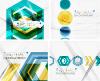 Set of abstract geometric backgrounds. Waves Stock Photo
