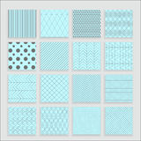 Set of 16 abstract geometric blue patterns. Set of 16 abstract geometric patterns. Classic wallpaper. Vector illustration. Fantasy background with geometric Stock Photo