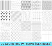 Set of 20 abstract geometric blue patterns. Monochrome geometric ornaments. Set of geometric vector seamless patterns royalty free illustration