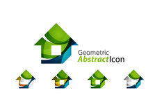 Set of abstract geometric company logo home, house Stock Image