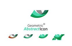 Set of abstract geometric company logo N letters Stock Images