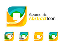 Set of abstract geometric company logo square Royalty Free Stock Images