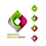 Set of abstract geometric company logo square Stock Photos