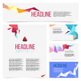 Set abstract geometric composition of triangles. Origami, template design, brochure, Web sites, page, leaflet, with colorful geometric triangular backgrounds royalty free illustration