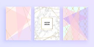 Set abstract geometric designs with gold, glitter, cream, light blue, pastel pink and marble texture background. Vector trendy geo. Metric posters. Template for royalty free illustration