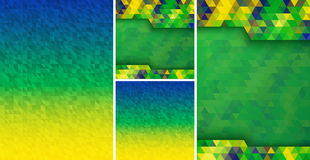 Set of Abstract geometric digital background using Brazil flag colors, A4 size, square format. Stock Photos