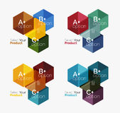 Set of abstract geometric hexagon design with options and text. Vector templates royalty free illustration